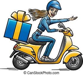 niña, cliente, caricatura, scooter., lleva, regalo