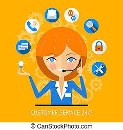niña, cliente, icono, centro, llamada, servicio