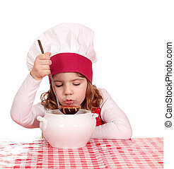 niña, cocinero, sabor, sopa