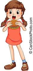 niña, comida, hamburguesa