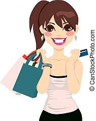 niña, compras, adolescente