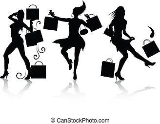 niña, compras, siluetas