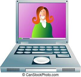 niña, computadora