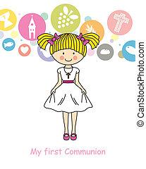 niña, comunión, primero