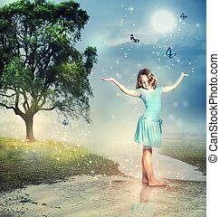 niña, con, azul, mariposas, en, un, mágico, arroyo
