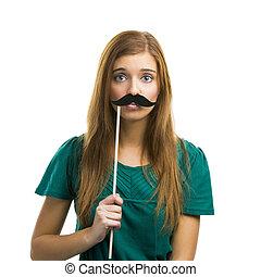 niña, con, bigote