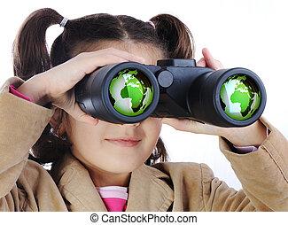 niña, con, binoculares, globo de la tierra, en, anteojos