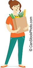 niña, con, bolsa de papel, compras, groceries.
