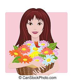niña, con, cesta, de, flores