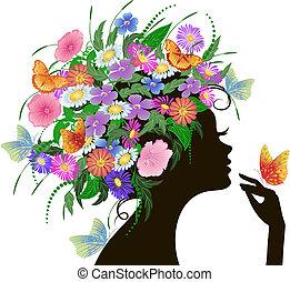 niña, con, flores, y, mariposas