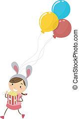 niña, con, globos, en, un, parque tema