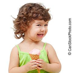 niña, con, helado, en, estudio, aislado