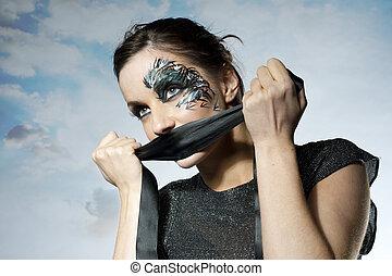 niña, con, hermoso, artístico, pintura de la cara