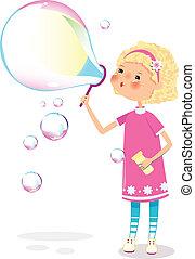 niña, con, jabón burbujea