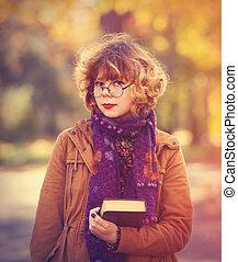 niña, con, libro