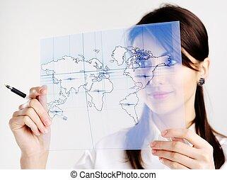 niña, con, mapa, de, el mundo