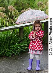 niña, con, paraguas
