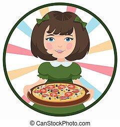 niña, con, pizza