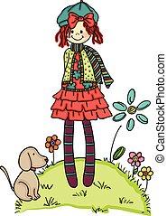 niña, con, poco, perro, en, jardín