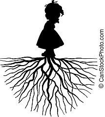 niña, con, raíz