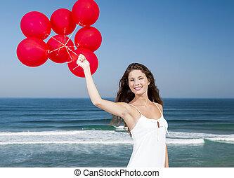 niña, con, rojo, ballons