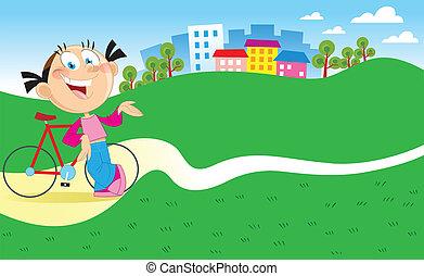 niña, con, un, bicicleta