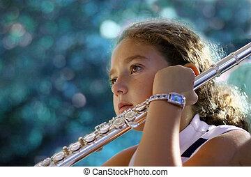 niña, con, un, flauta