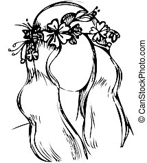 niña, con, un, guirnalda, de, flores salvajes, en la cabeza