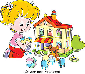 niña, con, un, muñeca, y, casa de juguete