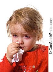 niña, con, un, severo, gripe