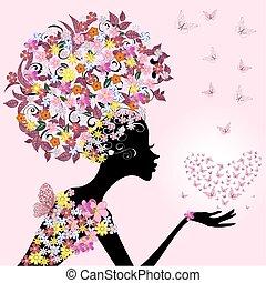 niña, con, un, valentine, de, mariposas