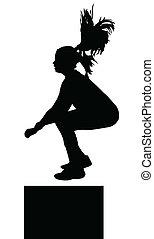 niña, condición física, exerciser, saltar, silueta