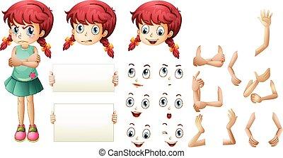 niña, conjunto, con, diferente, mano, gestos, y, expresiones faciales