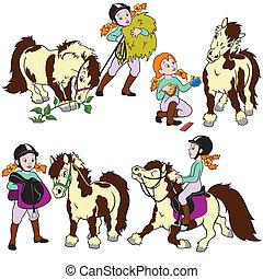 niña, conjunto, poney, caricatura