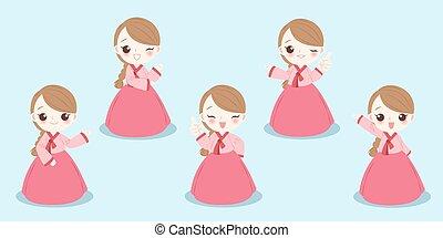 niña, corea, caricatura