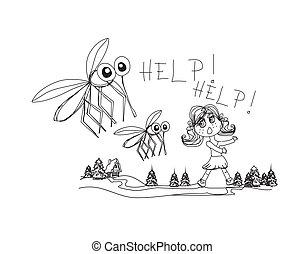 niña, corre, lejos, mosquitos
