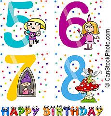 niña, cumpleaños, diseño, caricatura