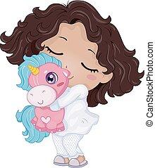 niña, de pijama, niño, juguete, unicornio