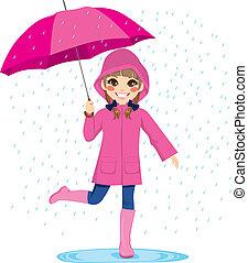 niña, debajo, el, lluvia