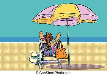 niña, deckchair, playa