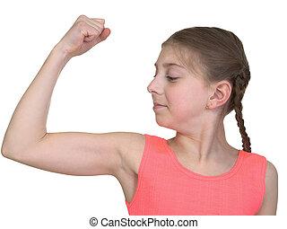 niña, demostración, nosotros, sistema muscular