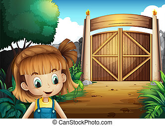 niña, dentro, yarda, joven, gated