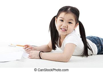 niña, dibujo