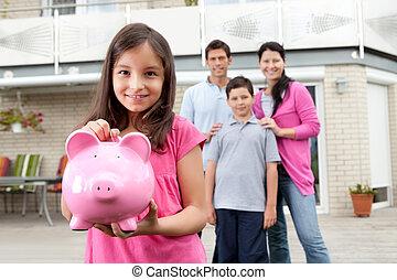 niña, dinero del ahorro, con, familia , en, el, espalda