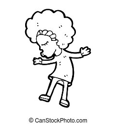 niña, disco, caricatura, bailando