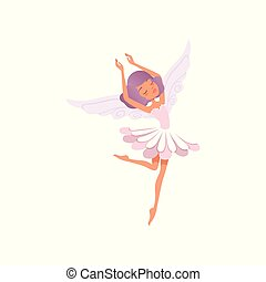 niña, diseño, fairytale, hada, hermoso, vector, creature., flor, formado, dress., pelo, caricatura, plano, carácter, púrpura, magia, bailando, wings., poco, imaginario, llevando