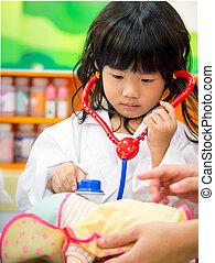 niña, doctor, el jugar del papel, ocupación
