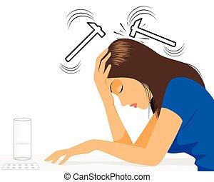 niña, dolor de cabeza