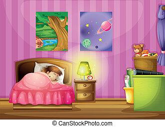 niña, dormitorio