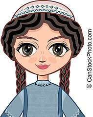 niña, dress., judíos, ortodoxo